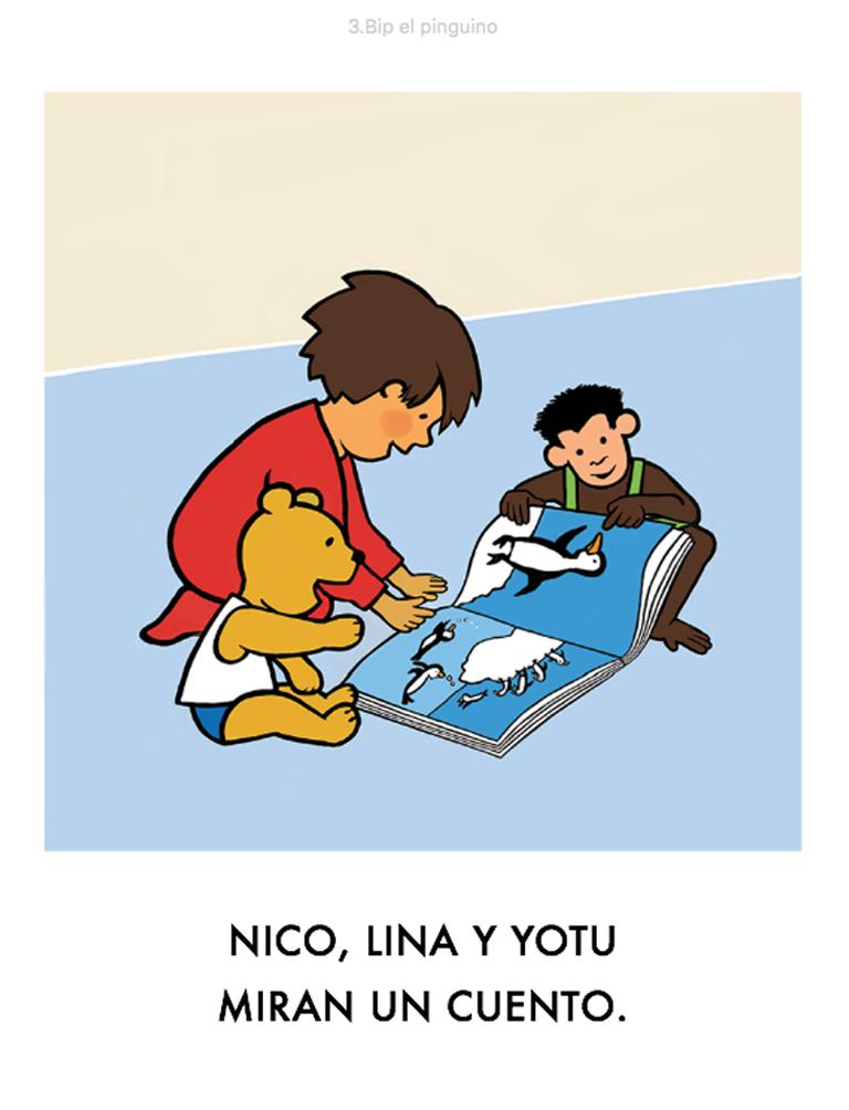 Nico, Lina y Yotu miran un cuento